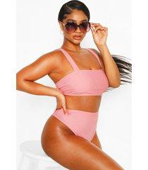 plus high waisted bikini set, rose