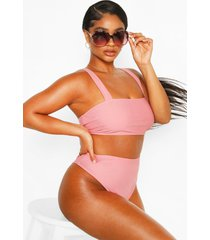 plus high waisted bikini set, rose