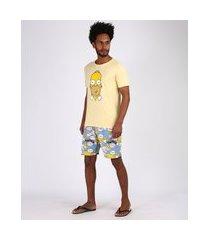 pijama masculino homer simpsons estampado manga curta amarelo