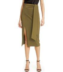 women's alice + olivia riva tie waist slit midi skirt