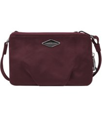 travelon anti-theft parkview double zip crossbody clutch