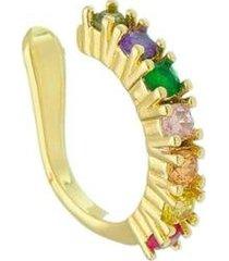 piercing de pressão piuka jana zircônias coloridas folheado a ouro 18k feminino - feminino