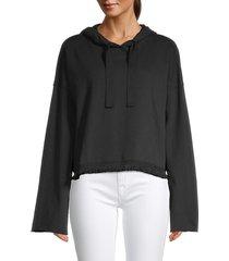 alala women's tropez tessel-hem hoodie - black - size l