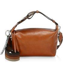 ganni women's leather hobo bag - cognac