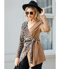 yoins camel crossed front diseño abrigo de manga larga con cuello en v de leopardo