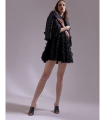 motivi giacca in tweed fantasia check donna nero