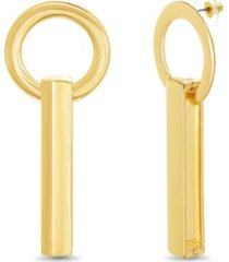 catherine malandrino women's gold-tone bar and ring post earrings