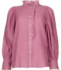 gestreepte blouse met pofmouwen yvette  paars