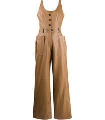 ruban leather pinafore jumpsuit - brown