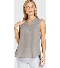 yoins cremallera gris diseño blusa sin mangas con cuello de pico