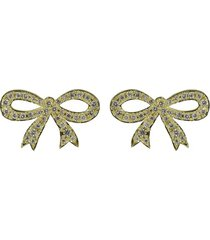 pave diamond bow stud earrings