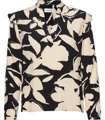 prt ls frill trim bl blouse lange mouwen beige calvin klein