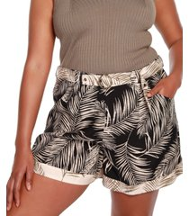 belldini black label plus size palm print belted shorts