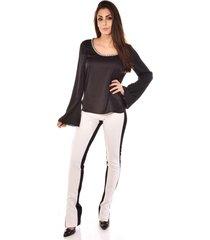 blusa manga longa banca fashion casual chique preto