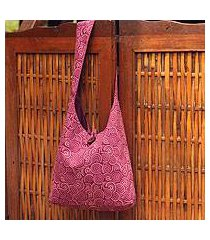 cotton shoulder bag, 'psychedelic pink' (thailand)