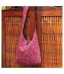cotton shoulder bag, 'psychedelic pink' (thailand)