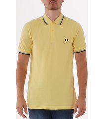 fred perry m3600 twin tipped polo shirt - soft yellow, summer blue & black m3600-h64