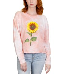 rebellious one trendy plus size tie-dye sunflower cotton top