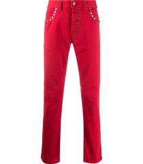 just cavalli studded straight trousers - red