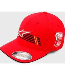 gorra rojo-negro-blanco alpinestars overtake
