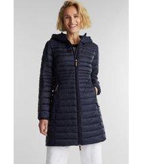 parka mujer larga con capucha thinsulate de 3m azul marino esprit