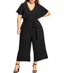 plus size women's city chic romantic flutter sleeve wide leg jumpsuit, size x-small - black