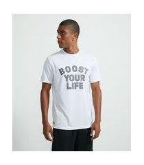 camiseta esportiva com lettering | get over | branco | m