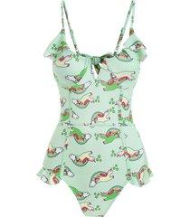 v-wired rainbow unicorn print underwire ruffle one-piece swimsuit