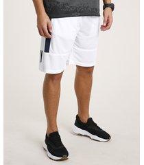 bermuda masculina esportiva ace com faixa lateral e respiro branca
