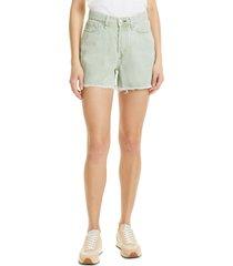women's rag & bone maya high waist raw hem cutoff denim shorts, size 31 - green