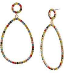 jessica simpson mixed stone gypsy gold-tone hoop earrings