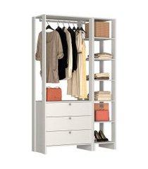 estante closet nova mobile yes com 1 cabideiro 3 gavetas e 7 nichos