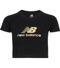 nb athletics podium tee t-shirts & tops short-sleeved svart new balance