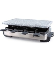 swissmar 8 person stelvio raclette party grill with granite stone grill top