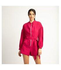 macaquinho vértice fashion com zíper rosa
