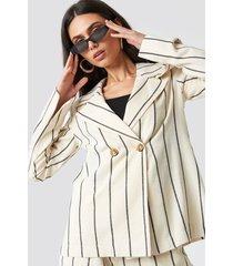 na-kd classic linen-blend blazer - beige