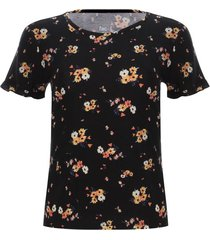 camiseta arandela flores color negro, talla 10
