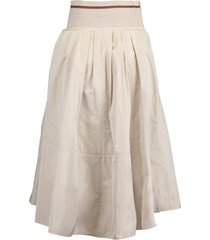 stone taffeta and jersey striped waistband skirt