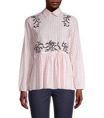 melantha floral checkered-print blouse