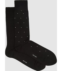 reiss graham - two pack socks in black, mens