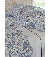 colcha com porta travesseiro trapuntada blossom azul/branca - scavone - azul - dafiti