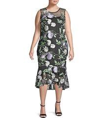 plus floral embroidered illusion midi dress