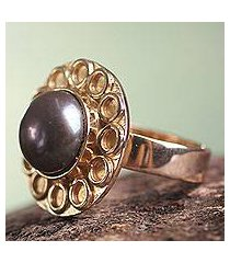 gold plated cultured pearl flower ring, 'grey cuzco bloom' (peru)