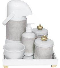 kit higiene espelho completo porcelanas, garrafa e capa coroa dourado quarto beb㪠 - dourado - dafiti