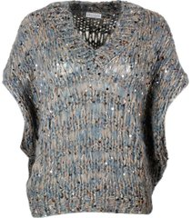 brunello cucinelli sleeveless v-neck cape sweater in mohair, cotton and wool with three-dimensional processing embellished with multicolor applied seq