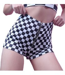 plaid shorts for women sexy high waist elastic zipper pants european style