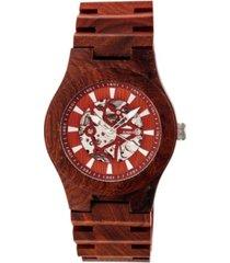 earth wood gobi automatic skeleton wood bracelet watch red 45mm