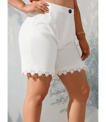 plus size high waist lace panel shorts