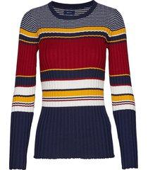 d1. rib knitted crew gebreide trui multi/patroon gant