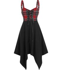 checked lace up asymmetrical cami dress